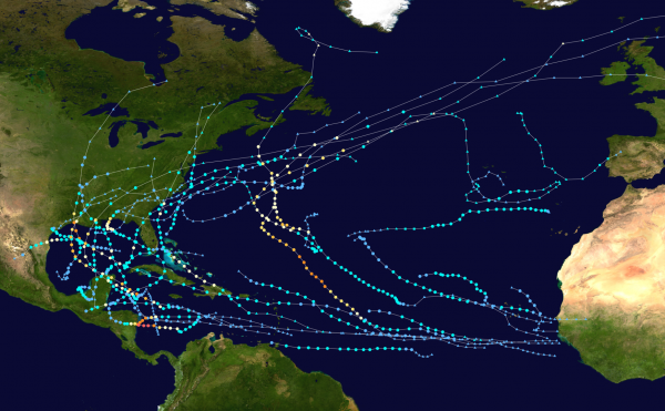2020 tropical storm paths and statuses.